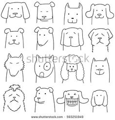 Find Vector Set Dog stock images in HD and millions of other royalty-free stock photos, illustrations and vectors in the Shutterstock collection. Thousands of new, high-quality pictures added every day. Easy Doodles Drawings, Simple Doodles, Cute Doodles, Cute Drawings, Animation Sketches, Drawing Sketches, Dog Outline, Love Coloring Pages, Animal Doodles