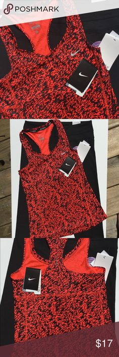 NWT Nike Running Top Nike Running Top.  Racerback Tank.  Nike Dry Fit!  Great read and Black pattern.  Size: XS. NWT Nike Tops