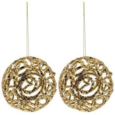 Gold Glitter Swirl Cut-Out Ball Ornaments