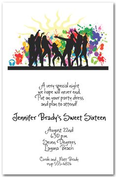 Splashes of color highlight silhouettes of a dance party on the Silhouette Dance Party Invitations. Great for birthday party invitations, dance invitations, summer party invitations and more. Birthday Invitation Sample, Pool Party Invitations, Invitation Wording, Invitation Ideas, Printable Invitations, Wedding Invitation, Class Reunion Invitations, Dance Party Birthday, Wedding Address Labels