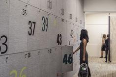 Employee Lockers | Modern Workplace | Goodman Birtcher | Corporate Headquarters | Irvine, California | Interior Design by H.Hendy Associates