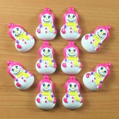 Lot 10pcs Cute Snow Girl w/ Pink Hat X'mas Christmas Resin Cabochons Flatback Flat Back Hair Bow Center Craft Making DIY *** Continue to the item at the image link.