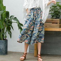 Summer Latest Leaf Prints Wide Leg Pants Casual Linen Trousers    #casual #linen #wideleg #pants #leaf #prints #trousers #fashion #bottoms