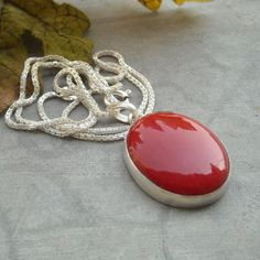 Large red coral pendant necklace square silver pendant jewelry oval red coral pendant chain jewelry 925 sterling silver necklace aloadofball Images