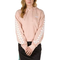 The Vans Check Sleeve Cropped Pullover Hoodie is made with cotton and polyester. Model is 5 feet 9 inches tall and wearing a size Small. Outfits With Vans, Vans Outfit, Casual Skirt Outfits, School Outfits, Teen Outfits, Hoodie Outfit, Sporty Outfits, Pink Outfits, Teenager Outfits