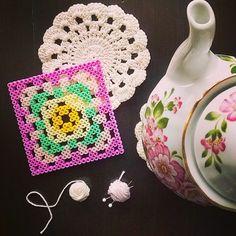 Granny square hama perler beads by tamatek