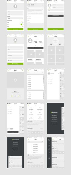 Basement iOS: Social — Wireframe Kits on Ux Design, Layout Design, Web Layout, App Wireframe, Mobile Wireframe, Visual Hierarchy, Ui Patterns, Mobile Ui Design, Ui Design Inspiration