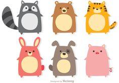 Cute little animals, cute cartoon animals, anime animals, cute icons
