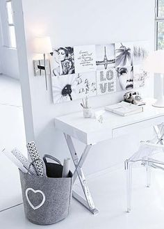 black and white study space