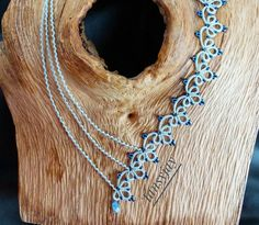 Light blue necklace 'blue clover'. Tatting lace jewellery with glass beads. Frivolite, chiacchierino, frywolitki, Occhi jewellery. by Tansyjay on Etsy