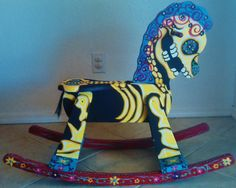 DAY OF THE DEAD ROCKING HORSE: turn a simple old thrift store rocking horse and paint by repainting it