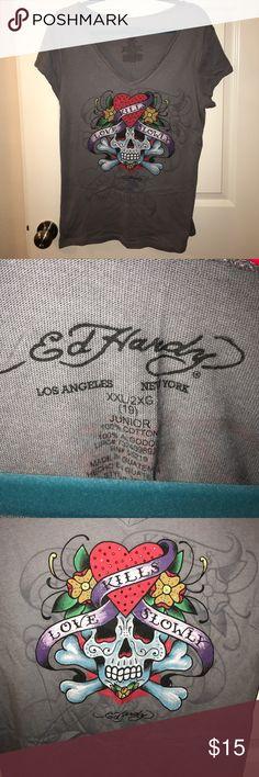 Gray Ed Hardy top. Size XXL Gray Ed Hardy top. Size XXL Ed Hardy Tops Tees - Short Sleeve
