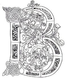 Illuminated Letters B Illuminated letter b celtic Alphabet Coloring Pages, Colouring Pages, Coloring Books, Coloring Letters, Book Of Kells, Celtic Symbols, Celtic Art, Celtic Knots, Celtic Patterns