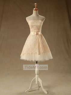 Strapless Cute Beautiful Lace Tulle Lace-up Back Short Prom Dress