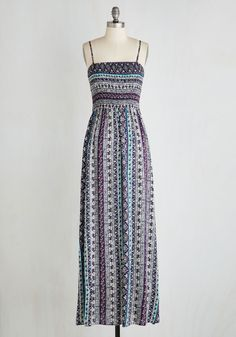 Top To-Dos Dress - Maxi, Long, Multi, Print, Other Print, Casual, Boho, A-line, Woven, Better, Sleeveless