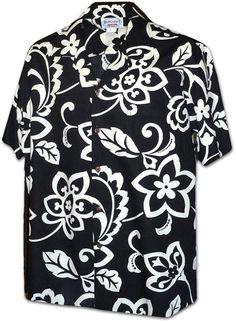 51c83d8849a5f Kapa Hibiscus Pareau Men's Tropical Aloha Shirt - Black - CT11VIB7KPP. Chemises  HawaïennesChemises ...