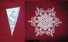 Making Paper Snowflakes and Garlands, Charming Handmade Christmas Decorations Paper Snowflake Designs, Snowflake Template, Snowflake Garland, Christmas Snowflakes, Christmas Crafts, Christmas Ornaments, Snowflake Decorations, Paper Ornaments, Christmas Paper