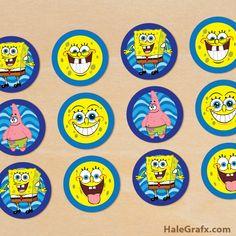 spongebob cupcake toppers FREE Printable Spongebob Squarepants Cupcake Toppers