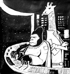 #inktober • Day 26 • Spacerilla and Cosmiraffe
