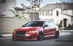 #Audi #S3 #A3 #Sportback #S-Line #Stance #Slammed #Modified #Red