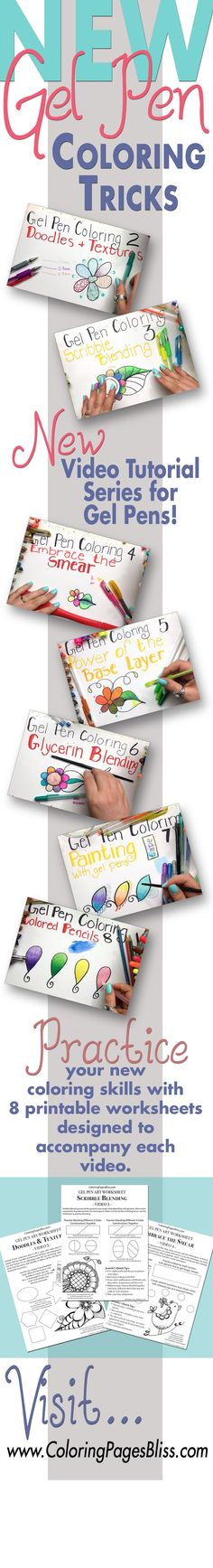 Gel Pen Coloring tips and tricks. 8 fun videos and worksheets to help you learn how to color with your gel pens. Artist Jennifer Stay has come up with new ways to use our gel pens in our coloring books and with our cards and planners. Follow along as she teaches you how to use glycerin to paint and smear beautiful blending effects with gel pens. You will be amazed at what your gel pens can do!