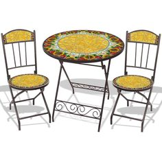 Mosaic Bistro 3pc Set in Red Sunflower Burst Tile ❤ liked on Polyvore featuring home and outdoors