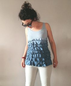 Ombre Baby Blue Ruffles Tank Hand Dyed Womens Summer by NEIandMO