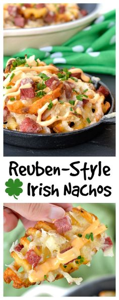 These Reuben-Style Irish Nachos are perfect for St.s Day: crispy waffle fries topped with corned beef, sauerkraut, lots of cheese and drizzled with Thousand Island! (Nacho Cheese With Ground Beef) Bangers And Mash, Irish Nachos, Easy Birthday Desserts, Appetizer Recipes, Dinner Recipes, Irish Appetizers, Party Appetizers, Tapas, Waffles