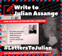 """ANNOUNCE: Write to imprisoned publisher Julian Assange. Join our mass letter writing campaign. Let's flood Belmarsh Prison with messages of support! Julian Assange DOB: HMP Belmarsh Western Way London UK Direct Action, Truth And Justice, Political Prisoners, You Have Been Warned, Courage, Conservative Politics, Everyone Knows, Social Justice, A Good Man"