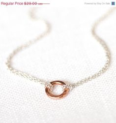 CIJ SALE 10 off  Small Rose Gold Eternity Necklace // by burnish, $26.10