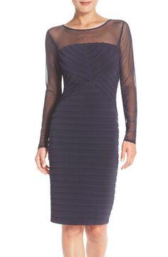 e5557c85d870 London Times London Times Shutter Pleat Sheath Dress with Mesh Yoke  available at  Nordstrom Shutters