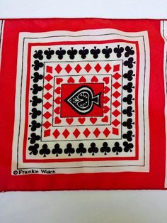 Rare Vintage Frankie Welch Qiana Nylon Scarf Playing Card Suits by coveteur on Etsy