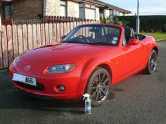 A Mazda MX5 in red - another colour that benefits from Showroom Shine.