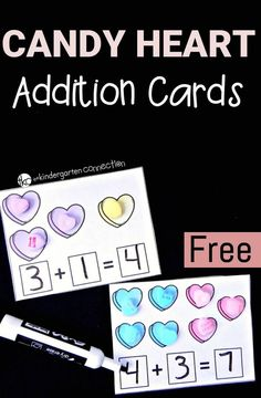 Have a blast this Valentine's Day with these fun and free candy heart addition cards! Work on one to one correspondence, adding sets together, and writing equations too! (Valentins Day Activities For Kinder) Preschool Math, Math Classroom, Kindergarten Activities, Fun Math, Teaching Math, Subtraction Kindergarten, Math Games, Classroom Ideas, Classroom Activities