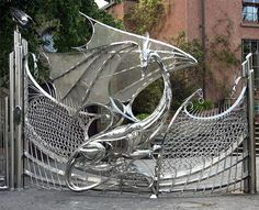 Dragon Gate of Harlech House, Dublin. Harlech House is famous for its dragon gates, was originally built in 1798 but in 1993 a huge redesign commenced which sought to celebrate the Jubilee, and also provide a home to a large family. Art Nouveau, Dublin House, Houses In Ireland, Front Gates, Entrance Gates, House Entrance, Garden Entrance, Garden Gates, Doorway