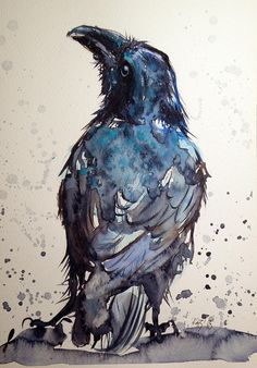 Crow Painting by Kovacs Anna Brigitta