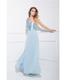 Blue Poly Satin & Chiffon One Shoulder Prom Dress