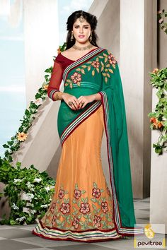 This is made in pure net, viscose fabrics. The orange green maroon Lehenga Choli is excellent with its fine lace patti, sequence work and embroidery works.
