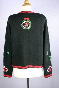 Vintage XMAS Sweater UGLY Xmas Sweater Cardigan by AlarmVintage