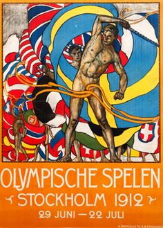 """An official poster for the 1912 Stockholm Olympic Games by the artist Olle Hjortzberg dated 1911. Produced in 16 different languages this example being in Dutch. 1912 was the first Olympic Games that adopted an official poster, a tradition that endures to the present day. The design represents the March of the Nations. The poster was not distributed in some countries who deemed the design to be too """"'daring"""", with the central athlete's modesty barely preserved by the flailing of his flag."""