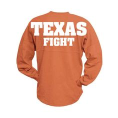 BlingPower Texas Longhorns Fans Texas Fight Get Your Spirit Wear Now... ($35) ❤ liked on Polyvore featuring tops, t-shirts, shirts, orange, unisex adult clothing, checked shirt, embroidery t shirts, jersey shirts, monogram t shirts and jersey tee
