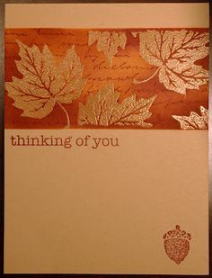 handmade card from Melissa's Creations ...autum leaves embossed in copper ... kraft base card ... masked off band with emboss and resist stamping and sponging ... like this technique on colored paper ... great card!!