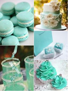 Tiffany blue cakes and drinks
