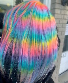 Carebear inspired rainbows 💖💙 @pulpriothair @brazilianbondbuilder Brunette Hair, Blonde Hair, Professional Hair Color Brands, Hair Color For Morena, Clairol Natural Instincts, Hair Color Streaks, Human Hair Color, Brown Hair Colors, Dyed Hair