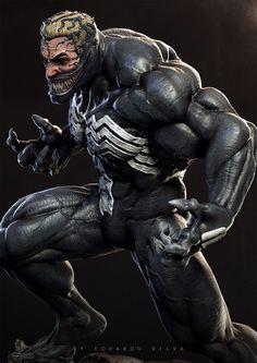 Venom By Eduardo Silva Venom Comics, Marvel Venom, Marvel Villains, Marvel Dc Comics, Marvel Heroes, Marvel Characters, Thor Marvel, Comic Books Art, Comic Art