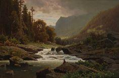 ADOLF CHWALA - Beira de rio com pequena aldeia  - Óleo sobre tela       ADOLF CHWALA - Königsee  - Óleo sobre tela - 60 x 90     Grande p...