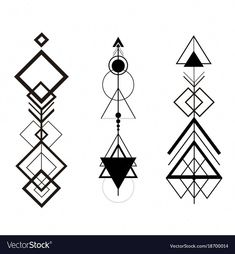 Tribal hipster geometric arrows set vector image on VectorStock Geometric Tattoo Symbols, Geometric Line Tattoo, Triangle Tattoos, Small Tattoos With Meaning, Small Tattoos For Guys, Design Lotus, Tattoos Mandala, Sacred Geometry Symbols, Line Tattoos