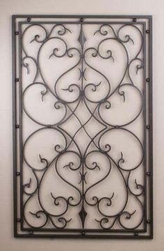 Wrought Iron 30x48 Rectangle Wall Decor Grille By IronArboretum, Http://www.