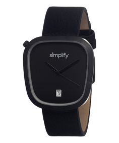 Simplify Black Leather-Strap The 1400 Watch | zulily