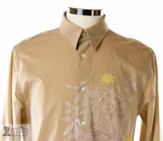 DKNY Men Light Brown Pinstriped Floral Dress Shirt Fitted Slim sz L Painted £140